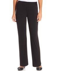 Ny Collection Petite Pants Pull On Straight Leg Black