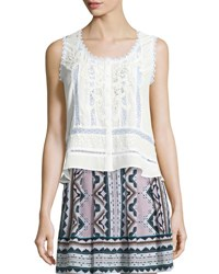 Nanette Lepore Sleeveless Lace Inset Top Ivory