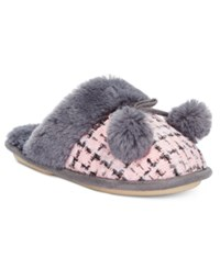 Kensie Sparkle Tweed Pom Pom Slide Slippers Pink