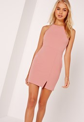 Missguided Petite Square Neck Side Split Mini Dress Pink Red