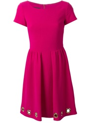 Boutique Moschino Eyelet Embellished Dress Pink And Purple