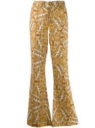 Zimmermann Flared Paisley Trousers Brown