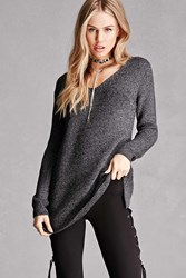 Forever 21 Marled Purl Knit Sweater Charcoal