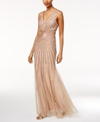 Adrianna Papell Beaded A Line Gown Taupe Pink