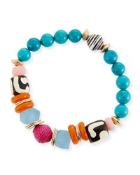 Akola Thin Multicolor Beaded Stretch Bracelet 7.25 L