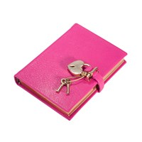 Graphic Image Small Locked Leather Journal Pink