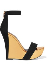 Balmain Suede And Mirrored Leather Wedge Sandals Black
