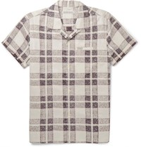 Outerknown Camp Collar Checked Organic Cotton Shirt White