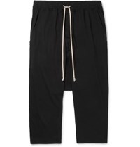 Rick Owens Black Cropped Cotton Jersey Drawstring Trousers Black