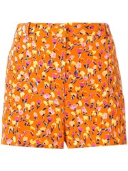 Versace Floral Print Shorts Yellow Orange