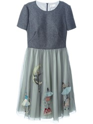 Red Valentino Doll Applique Tulle Dress Grey