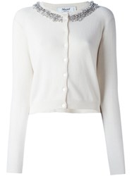 Blugirl Cropped Embellished Cardigan Nude And Neutrals