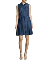 Ivanka Trump Chambray Fit And Flare Dress Blue