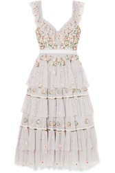 Needle And Thread Whimsical Tiered Embroidered Tulle Midi Dress Light Blue