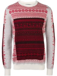 Christian Dior Homme Floral Intarsia Jumper Red