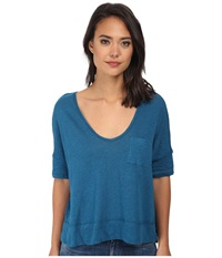 Free People Triblend Jersey Crescent Moon Tee Peacock Women's Short Sleeve Pullover Multi