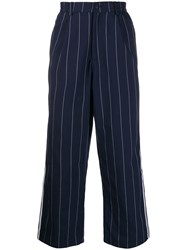 Adidas Pinstriped Loose Fit Trousers Blue