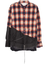 Greg Lauren Contrast Distressed Shirt Black