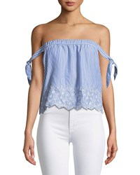 Cupcakes And Cashmere Bessy Striped Off The Shoulder Eyelet Top Blue