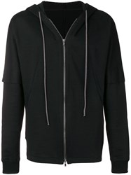 The Viridi Anne Panelled Zip Hoodie Black