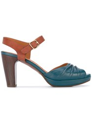 Chie Mihara Panel Mid Heel Sandals Women Leather Foam Rubber 36 Blue