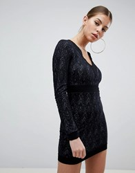 Ax Paris Long Sleeve Lace Dress Black