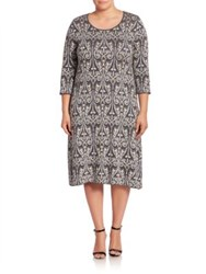 Marina Rinaldi Plus Size Gita Paisley Jacquard Shift Dress Medium Grey