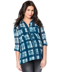 Wendy Bellissimo Three Quarter Sleeve Plaid Print Maternity Shirt Blue Plaid