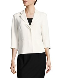 Ellen Tracy Neo Romanticism Hidden Snap Blazer White