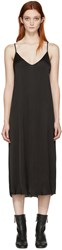 Raquel Allegra Black Liquid Satin Slip Dress