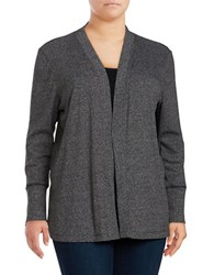 Michael Michael Kors Plus Ribbed Open Front Cardigan Black