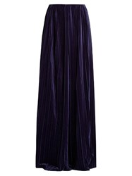 Marco De Vincenzo Wide Leg Pleated Velvet Trousers Navy
