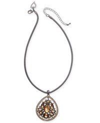 Thalia Sodi Hematite Tone Yellow Crystal Pendant Necklace Created For Macy's