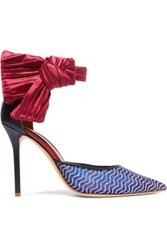 Malone Souliers Ungaro Elle Leather Trimmed Mesh And Satin Pumps Blue