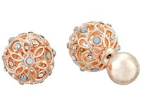 Guess Ball Front Back Earrings Rose Gold Crystal White Earring