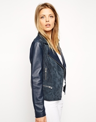 Asos Biker Jacket In Suede And Leather Ink