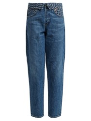Jean Atelier Flip Fold Over Embroidered Jeans Denim
