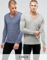 Asos 2 Pack V Neck Jumper Grey Nep Denim Twist Multi