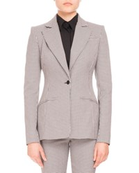 Altuzarra Acacia Mini Gingham One Button Blazer Black White Black White