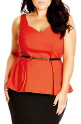 Plus Size Women's City Chic Belted Fold Front Peplum Top