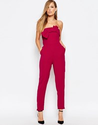 Coast Ariella Bandeau Jumpsuit With Bow Front Raspberry