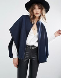 Suncoo Edna Cape Cross Stitch Coat Navy
