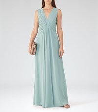 Reiss Evie Womens Low Back Maxi Dress In Green