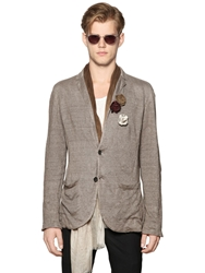 John Varvatos Linen And Metallic Thread Knit Blazer Grey