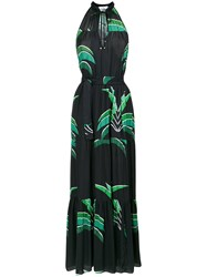 Amir Slama Foliage Print Long Dress Polyester Black