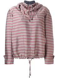 Jil Sander Navy Striped Hoodie Nude Neutrals