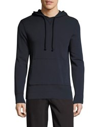 Officine Generale French Terry Cotton Hoodie Faded Navy