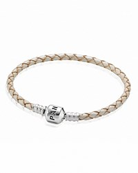 Pandora Design Pandora Bracelet Champagne Leather Single Wrap With Silver Clasp Moments Collection Champagne Silver