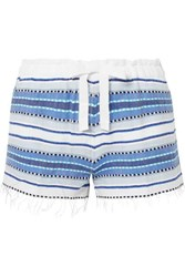 Lemlem Welela Fringed Striped Cotton Blend Gauze Shorts Blue