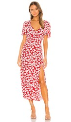 Minkpink Between You And I Midi Dress In Red. Red And White